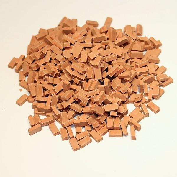 Miniaturmauersteine, Ziegelsteine M1:24, 800 Stk. ziegelrot mittel