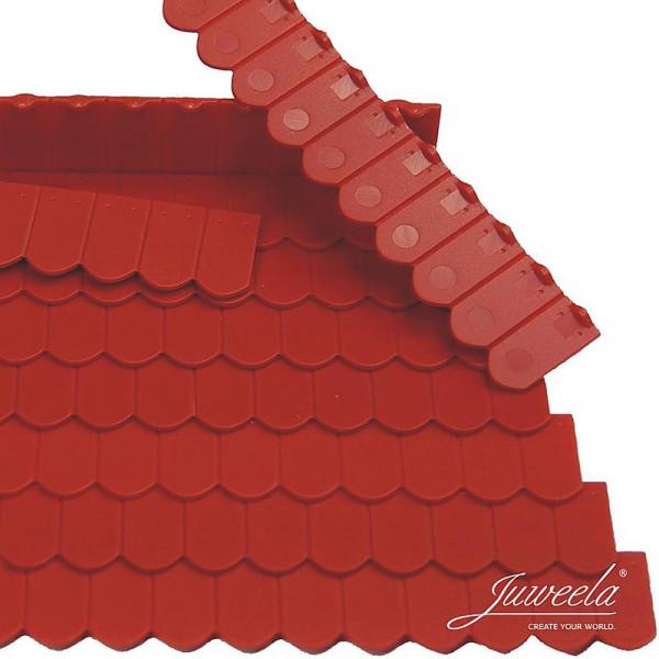 Miniaturdachziegel, Flachziegel Biberschwanz Rundschnitt ziegelrot, 9 x 12 Stk.