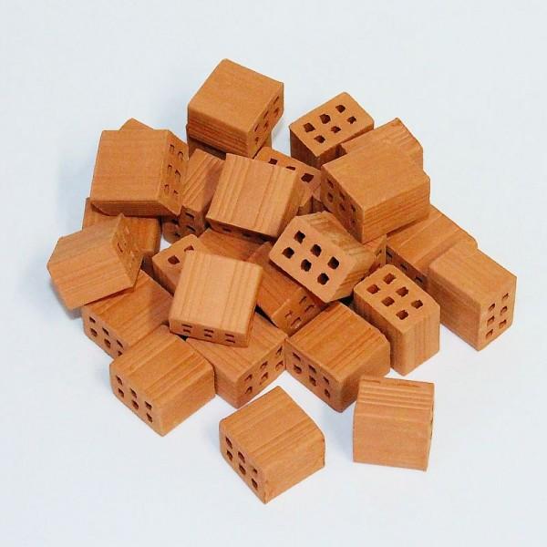 halbe Mauersteine, Miniaturziegel aus Ton, Modellbauzubehör im M 1:10, 25 Stück