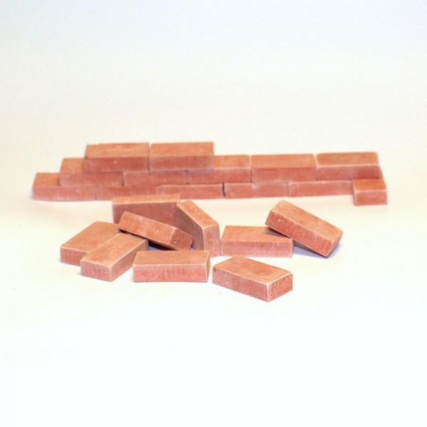 Miniaturmauersteine, Ziegelsteine M 1:12 - ziegelrot hell, 100 Stk