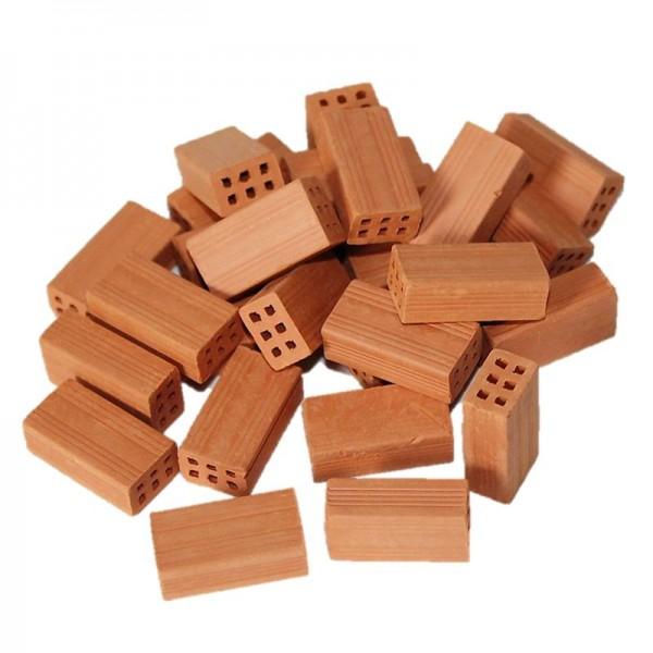 Miniaturmauersteine, Mauersteine aus Ton, Modellbauzubehör im M 1:10, 25 Stück